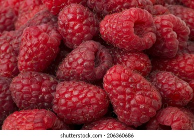 Raspberry, red fruit as the background or texture,