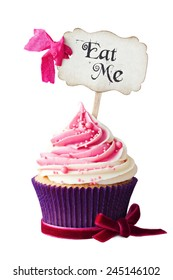 "Raspberry ripple cupcake with ""Eat Me"" pick"