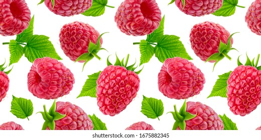 Raspberry seamless pattern isolated on white background, collection of falling berries with leaves