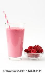 Raspberry smoothie isolated on white background