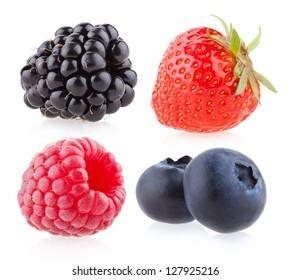 raspberry, strawberry, blueberry and blackberry - Shutterstock ID 127925216