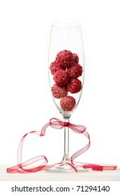 raspberry truffles in a champagne glass