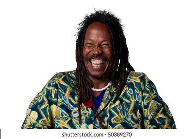 Rasta man laughing out loud, isolated image