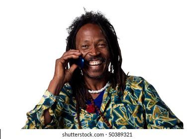 Rasta man talking on the phone, isolated image