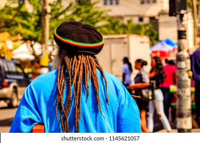 A rasta man walking of the streets of Saint Lucia, Caribbean Islands.