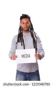 Rastafari young man holding a paper with a message