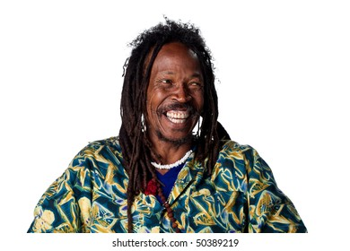 Rastafarian laughing out loud, isolated against white
