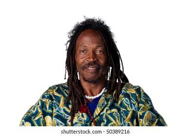 Rastafarian looking at the camera, serious face