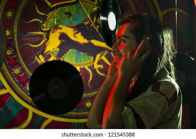 Rastaman listen the playlist before the concert