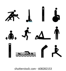 raster active lifestyle stick man set