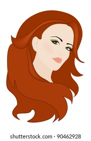 raster -  beautiful woman with gorgeous red hair (vector version is available in my portfolio)