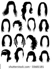 """RASTER Big set of black hair styling for woman (from my big """"Hair styling  series"""")"""