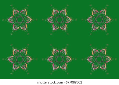Raster christmas abstract colorful background with falling snowflake. Raster illustration. Snowflake background.