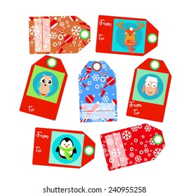 Raster Christmas tags isolated with deer, penguin, sheep. snowballs. snow and text for your gifts