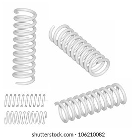Raster: Coil spring 3D render and line drawing