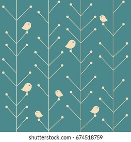 Raster copy. creative vintage seamless branch trees background with birds, nature winter christmas abstract background