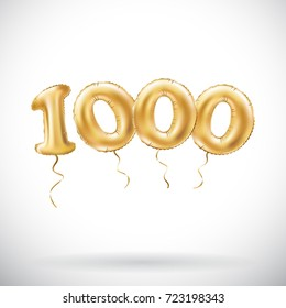 raster copy Golden number 1000 one thousand metallic balloon. Party decoration golden balloons. Anniversary sign for happy holiday, celebration, birthday, carnival, new year. art