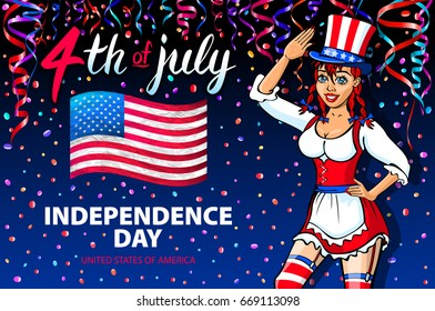 raster copy illustration of a girl celebrating Independence Day Poster. 4th of July Lettering. American Red Flag on Blue Background with Stars confetti art