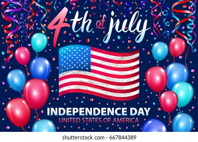 raster copy Illustration of Independence Day Poster. 4th of July Lettering. American Red Flag on Blue Background with Stars and Confetti. colorfull ballon art