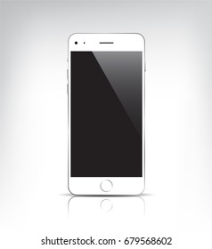 Raster copy. realistic white phone with empty screen isolated