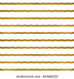 Raster copy. Seamless pattern. Golden zigzags on white. Texture for web, print, wallpaper, textile, wrapping, background for invitation card or holiday decor.