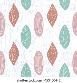 Raster copy. Seamless pattern for textile, wrapping, scrapbooking, wallpaper or web pages. Cute hand drawn leaves on grunge background made.
