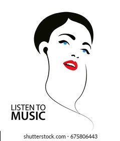 Raster copy. silhouette illustration, poster a woman listening to the music in earphones