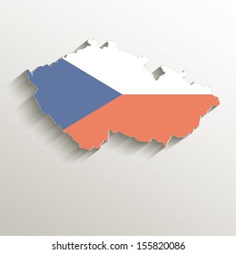 raster Czech map vintage color flag paper 3D