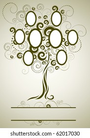 RASTER family tree design with frames and autumn leafs. Place for text