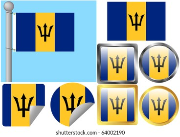 Raster Flag Set Barbados