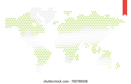 Raster Flat World Map Infographic. Map of the World.