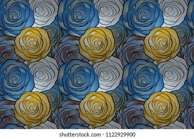 Raster floral seamless pattern. Blue, yellow and beige roses.