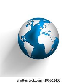 Raster globe icon of the world.