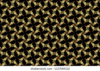 Raster golden grid seamless pattern with abstract flowers and stars on a black background. Orient textile print for bed linen, jacket, package design, fabric and fashion concepts.
