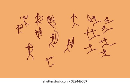 raster hand drawn cave drawing war between tribes. petroglyph concept ancient sketch on a orange background