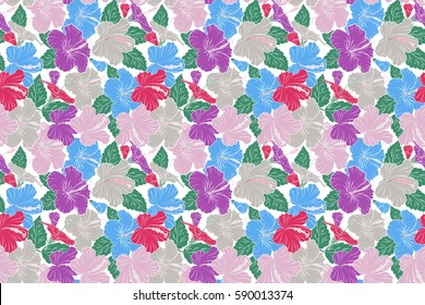 Raster hand drawn painting of hibiscus flowers in violet and pink colors. Seamless pattern on white background.