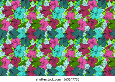 Raster hibiscus flower background. Pretty green, blue and pink floral print. Motley.