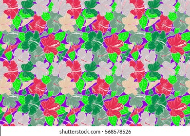 Raster hibiscus flowers and buds retro seamless pattern illustration in green, violet and pink colors.