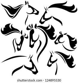 raster - horse head design - set of fine black and white outlines