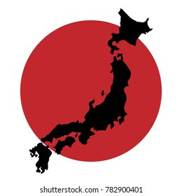 Raster illustration black silhouette map of Japan with the flag background