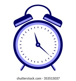 Raster illustration of blue alarm clock, isolated on the white background