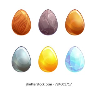 Raster illustration. Cartoon eggs upgrade concept. Set of the icons for game design. Isolated elements on white.