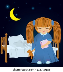 Raster illustration of cartoon girl in night robe with book near bed in the night