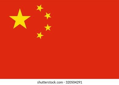 raster illustration of china flag. Rectangular national flag of china. Chinese flag