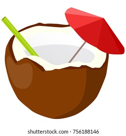 Raster illustration of cocktail in coconut. With umbrella and straw. Exotic summer cocktail