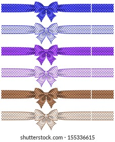 Raster illustration - collection of bows polka dot with ribbons.