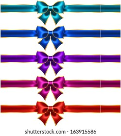 Raster illustration - collection of holiday bows with gold border and ribbons.