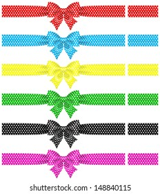 Raster illustration - collection of polka dot bows with ribbons.