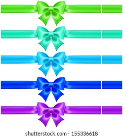 Raster illustration - collection of silk bows in cool colors with ribbons.
