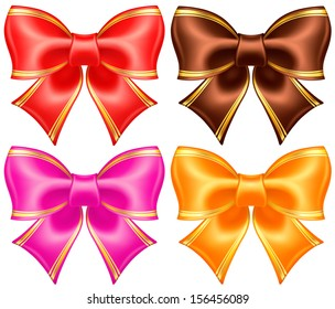 Raster illustration - collection of silk bows in warm colors with golden edging.